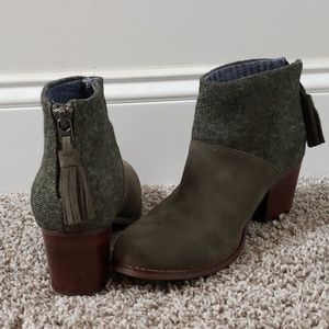 Toms Lacy Botties in Olive